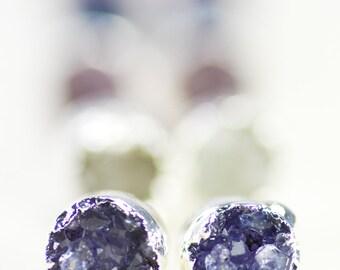 Wehilani earrings - small silver druzy stud earring, silver druzy post earring, tiny stud earring, druzy earring, silver earring, hawaii