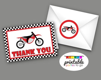INSTANT DOWNLOAD Motorcross Motorcycle PDF Thank You Card and Envelope Seal - Printable Parties to Go