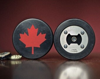 The PuckOpener - Canadian Maple Leaf - Bottle Opener made from a REAL Hockey Puck