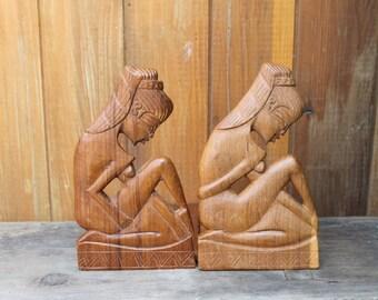 Vintage Folk Art Wood Hand Carved Bookends -- Nude Women