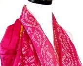 Medium Length Silk Scarf, Pink Silk Bandana, Pink Silk Scarf, Pink Scarf, Pink Bandana, Indian Scarf, Silk Sari Scarf, Tribal Scarf