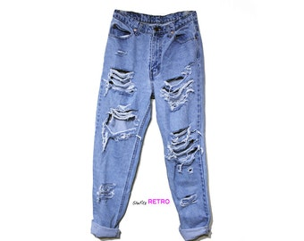 ALL SIZES - Vintage Destroyed High Waisted Grunge Boyfriend Jeans