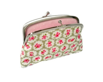 Olive green floral coin purse - shabby chic rose wallet with 2 sections in pale pink polka dots