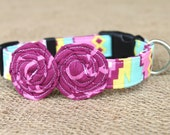 Dog Collar - Turquoise, Orchid and Yellow Aztec Print with Orchid Flowers
