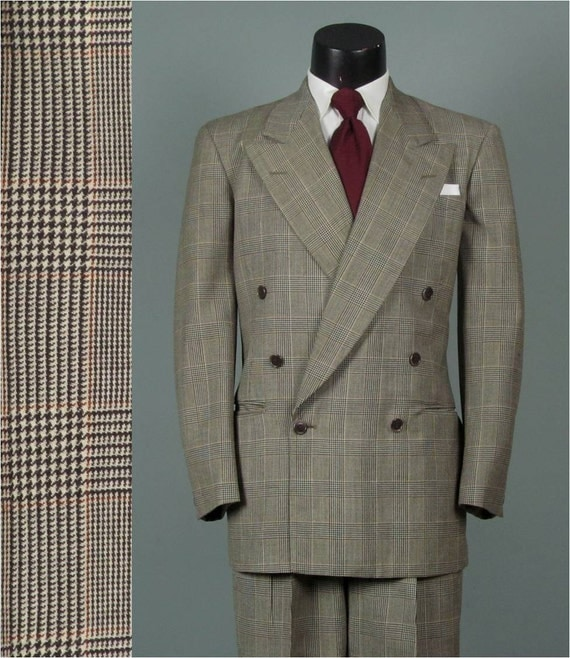 Vintage 1940s Mens Suit Glen Plaid 6 x 1 Double Breasted