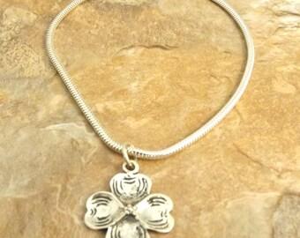 Sterling Silver Dogwood Charm on a Sterling Silver Slim European Charm Bracelet (0633/1429)