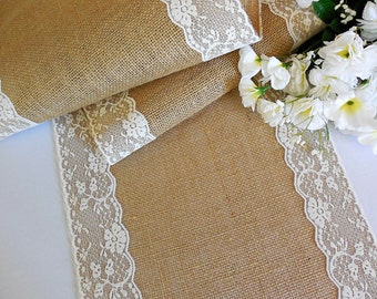Burlap and lace table runner rustic wedding table runner country barn wedding table decor