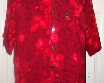 Hawaiian Shirt by Mango Moon - Mens Hawaiian Shirt - Vintage - Size L - 100% Rayon