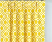 Yellow White Nicole Geometric Trellis Lattice Curtains - Pinch Pleat - 84 96 108 120 Long - Optional Blackout or Cotton Lining