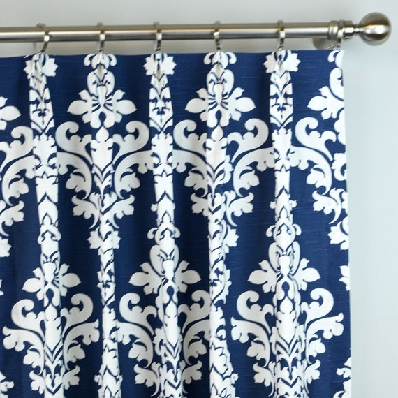 Navy Blue White Berlin Large Damask Floral Curtains By