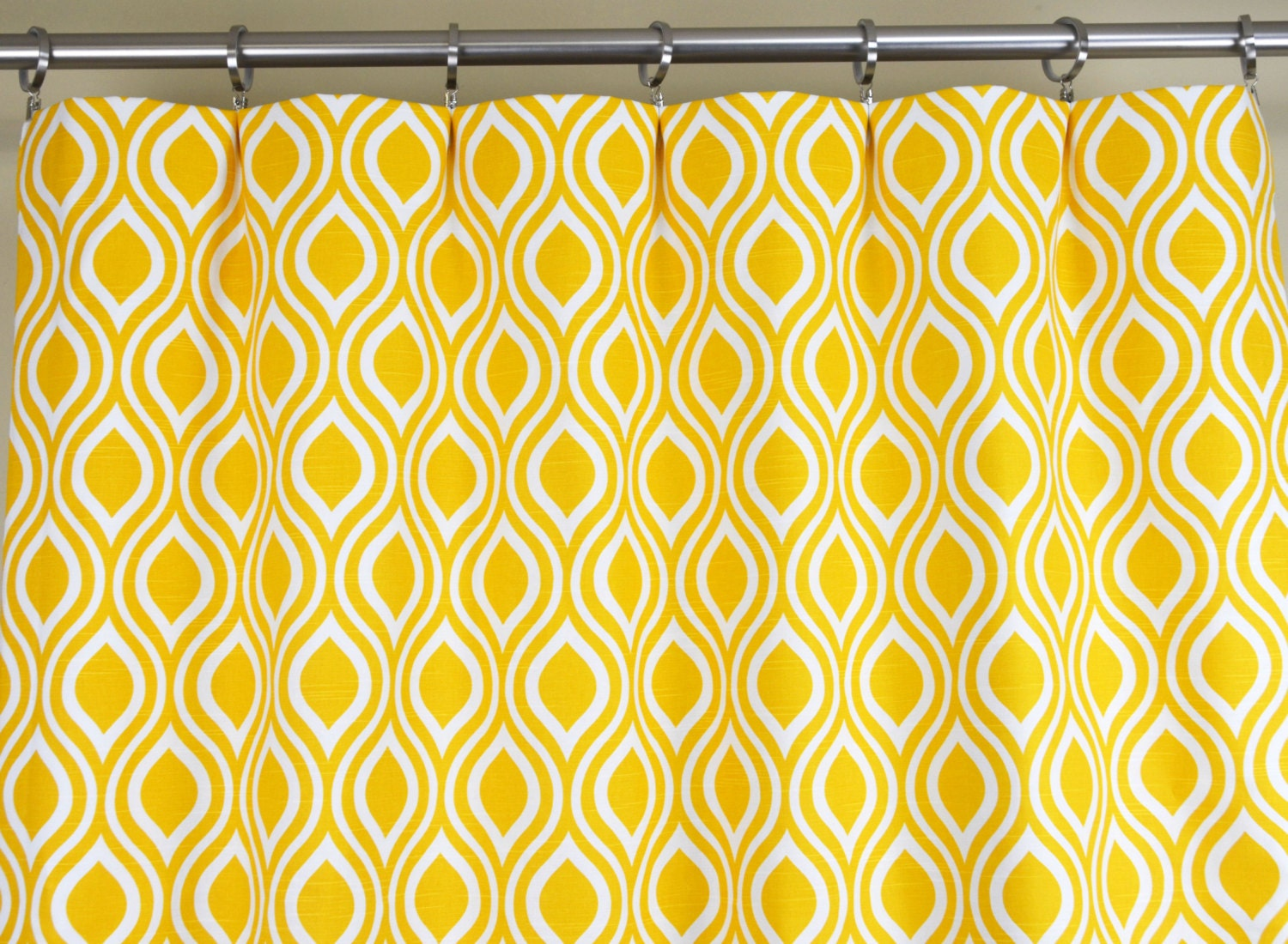 Yellow White Modern Geometric Nicole Curtains Rod by Zeldabelle