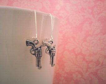 Silver or Bronze Pistol Earrings, Gun Earrings, Gun Jewelry, Shoot Like A Girl, Silver Gun Earrings, Pistol Earrings, Police Officer, Cops