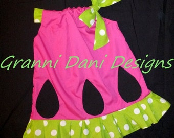 Watermelon pillowcase dress hot pink lime green polka dot ruffle baby toddler girl fair 0 3 6 9 12 18 24 months 2T 3T 4T 5T summer