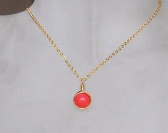 Pink Coral Necklace , Bridesmaid Necklace , Coral Necklace , Coral Gold Necklace