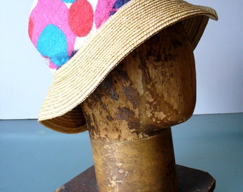 Made in Italy Vintage Terry Cloth & Straw Beach Bag with Hat