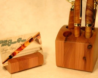 Desk organizer 2 piece set, handcrafted wood pen holder and phone stand or business card stand, pen cup and wood docking station in cedar