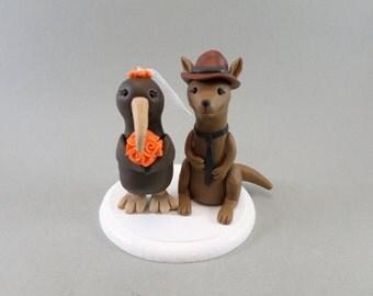 Personalized Kiwi & Kangaroo Wedding Cake Topper