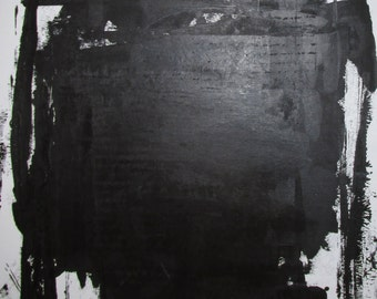 Abstract  Minimal Black No.0211 Acrylic on Paper 14x11 Modern Industrial