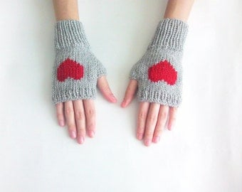 Knit Fingerless Gloves in Silver Grey, Dark Red Embroidered Heart, Heart Gloves, Fingerless Mittens, Arm Warmers, Wool Blend, Made to Order