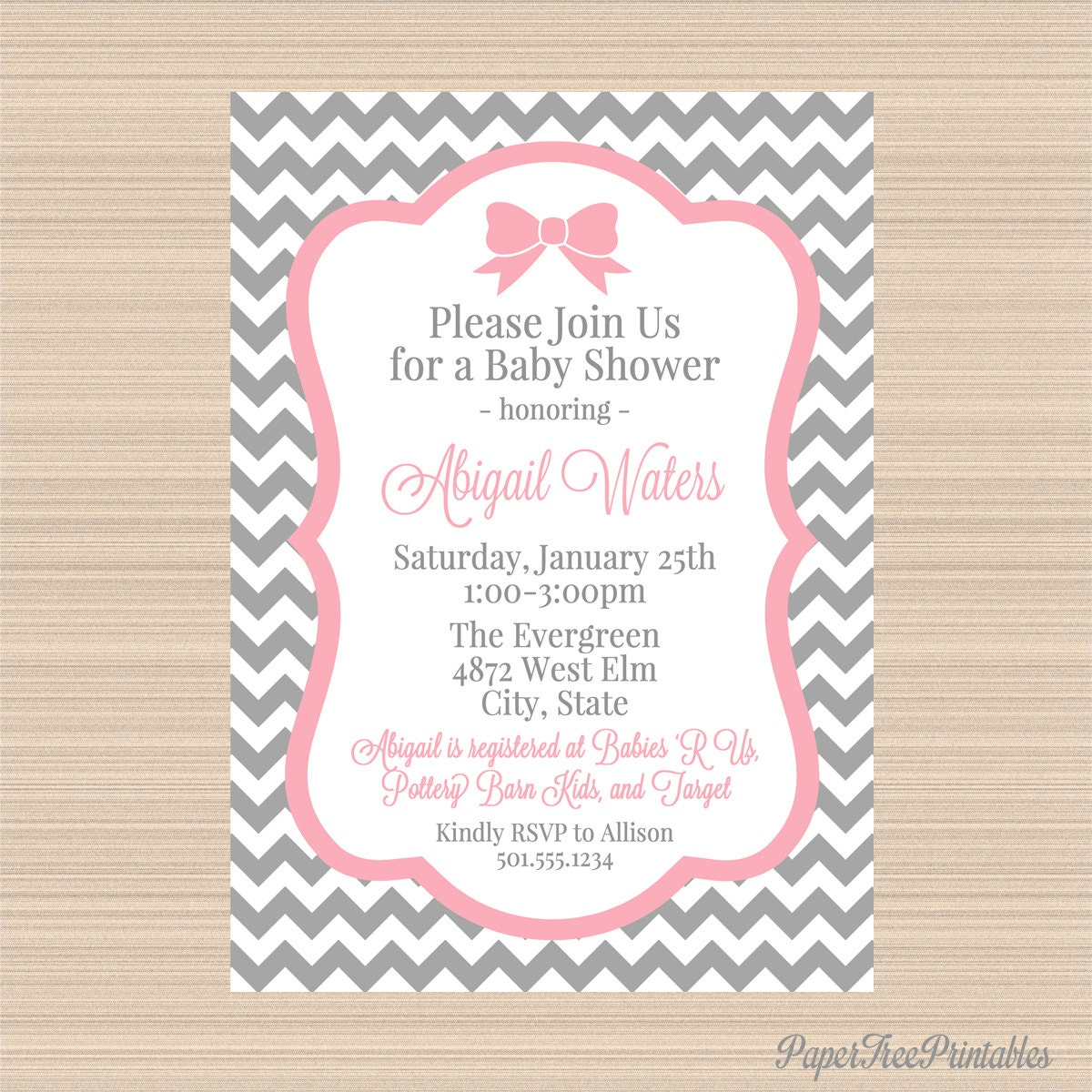 grey and pink chevron digital baby shower by papertreeprintables