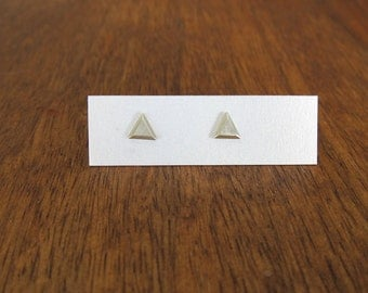 Silver triangle earrings, geometric earrings, faceted triangle studs