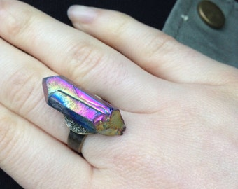 Titanium quartz and pyrite brass ring - adjustable