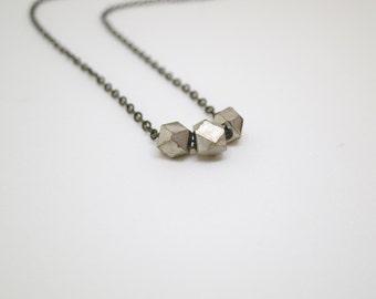Rustic Silver Nugget Necklace