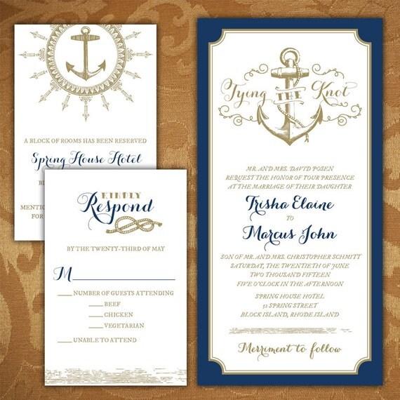 Custom tying the knot nautical wedding invitations for The knot wedding invitation language