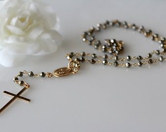 Golden Pyrite Rosary Necklace, Bronze Gemstone, Rosary Style, 14k Gold Filled, Pyrite Jewelry, Yolanda Foster inspired, Real Housewives