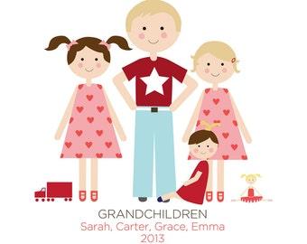 Custom Portrait, Grandchildren, Family Portrait, Grandparent Gift