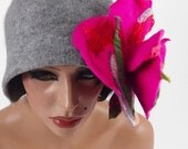 Felted Hat Cloche Hat grey Flapper hat LA BELLE EPOQUE wearable art art deco wool felt nunofelt nuno felt silk