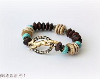 Ninko Fox Spirit Bracelet - Turquoise Conch Shell Wood Pyrite Beads and Brass - Boho Summer Fall
