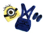 Minion Despicable me inspired Set  Baby Hat and Diaper Cover booties Set Baby Boy Photography Photo Prop Set 0-3 mo 3-6 mo 6-9 mo 9-12 mo