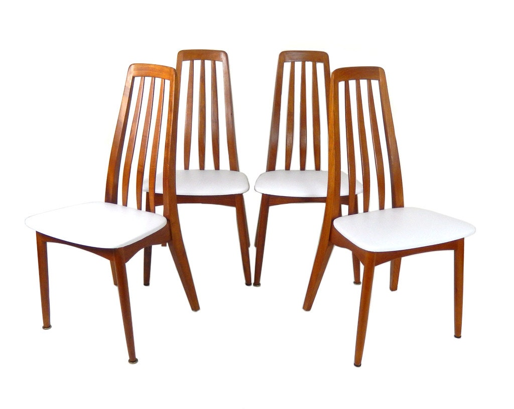 Mid century modern teak dining chairs set of by stonesoupology