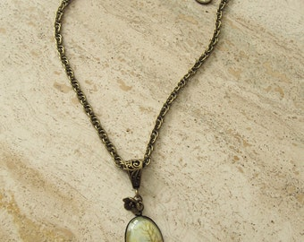 Nature Jewelry NecklaceTrees Abstract Bronze Flower Oak Leaf Clasp Pendant One of a Kind