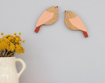 Wooden Wall Birds - Redstart Pair