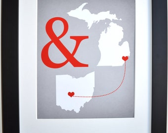 Two States Maps Long Distance Gift For Couple Girlfriend Boyfriend Deployment Custom Present Ampersand Heart And Wall Art Decor Print