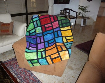 Artist patchwork, multi-colored quilt by Hanna Orr. Unfinished product: Could be throw blanket, tablecloth, or a quilt of any size.