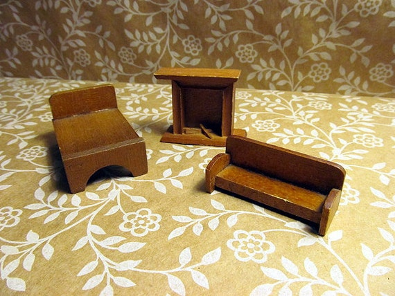 1970s Wood Furniture ~ Vintage s rustic wooden dollhouse furniture by