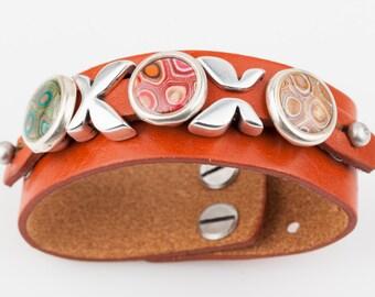 Brandy leather bracelet, slider beads bracelet, handmade cabochons, polymer clay cabochons, Size S