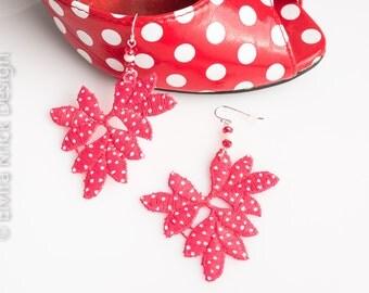 Lace earrings, handpainted lace earrings, pink dangle earrings, rock and roll jewelry, hand painted earrings, retro earrings