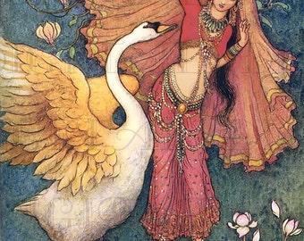 Sweet Swan and LUSCIOUS Lady!  Warwick Goble Vintage Digital Illustration. Digital Printable Image Download. Digital Print.
