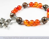 Mala Yoga OM Bracelet with Tibetan Silver Double Vajra Cross Pendant, Carnelian and Tibetan Agate Dzi Beads