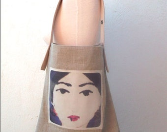 Linen and leather Bag