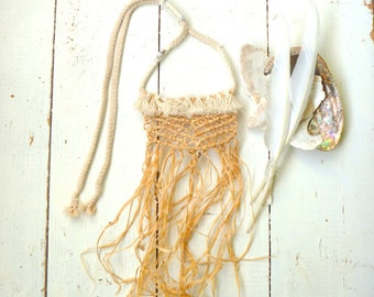 freedom #2 hand knotted and sewn raffia and rope necklace with tassels and beads.  Free shipping in Australia on this item : )