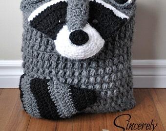 Ringo Raccoon Pillow Cover and Sleepover Bag Crochet Pattern pdf