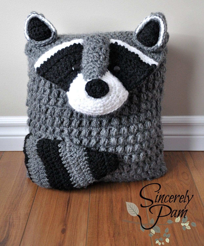 Ringo Raccoon Pillow Cover And Sleepover Bag Crochet Pattern