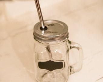 SALE!! Chalkboard Handled Mason Jar To Go Cup With Stainless Steel Straw 16oz Eco Friendly