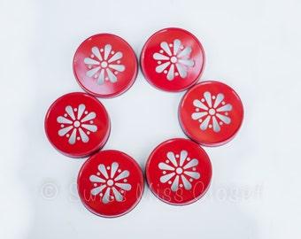 Set of 24 Red Color Daisy Mason Jar Lids DIY Wedding, Party Decor