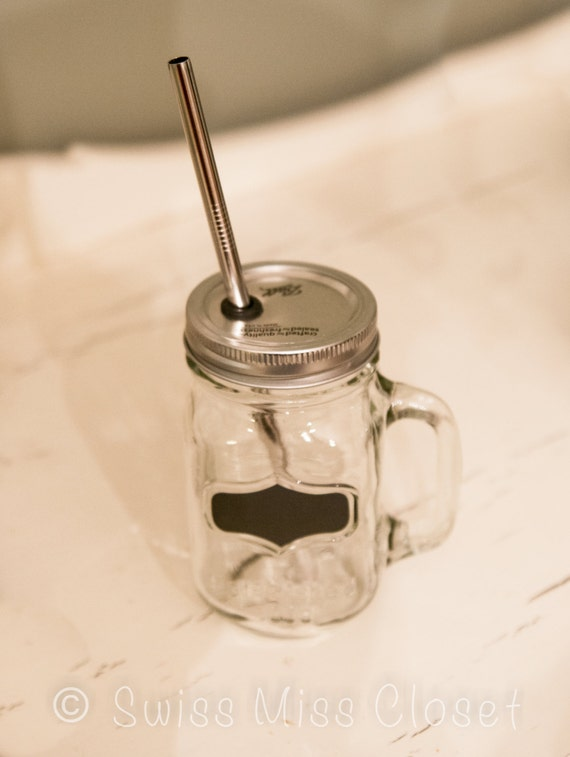 SALE!! Chalkboard Handled Mason Jar To Go Cup With Stainless Steel Straw 16oz Eco Friendly